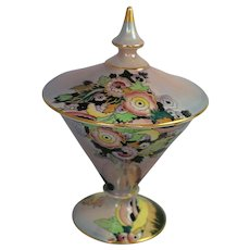 Vintage Royal Winton Art Deco Lustre Covered Dish Grimwades China Flowers Gold
