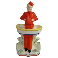 Rare Art Deco Bellhop Decanter Germany Figural Porcelain Schafer and Vater