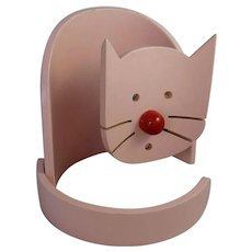 Bentwood Cat Lamp MCM Mid Century Modern Wooden Sculpture Pop Art Vintage Light