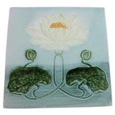 Art Nouveau Majolica Tile Water Lily Antique Art Pottery