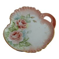 Antique Hand Painted Roses Porcelain China Plate Signed Marion