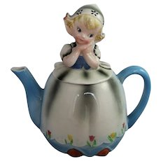 Lefton Teapot Dutch Girl Mid Century ESD Japan Figural China Vintage Kitsch