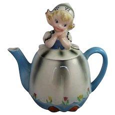 Vintage Lefton Teapot Dutch Girl Mid Century ESD Japan Figural China Kitsch