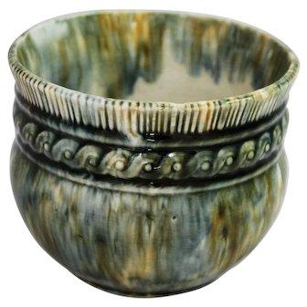 Antique Brantford Pottery Jardiniere Ontario Mottled Glaze Primitive Crock Canadiana Yelloware Spongeware Rockingham Bennington Era Flower Pot