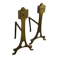 Art Nouveau Brass Andirons Fireplace Tool Rest Decor Antique Hearth Fire