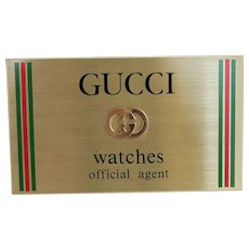 Vintage Gucci Watches Official Agent Store Display Dealer Sign Designer Swiss