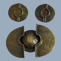 Chorange Paris Modernist Brooch Earrings Brutalist Runway Statement Jewelry Set Designer