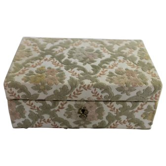Vintage Jewelry Box Italy Floral Brocade for Marshall Field & Co