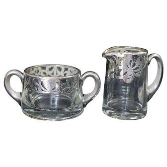 Vintage Heisey Glass Sterling Silver Overlay Glassware Cream & Sugar Bowl