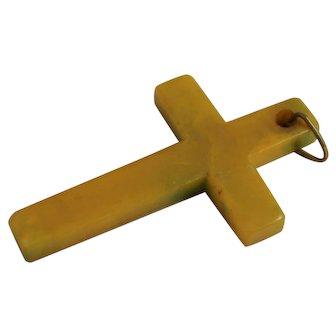 Vintage Bakelite Cross Pendant Yellow Green Catalin Necklace Christian Jewelry
