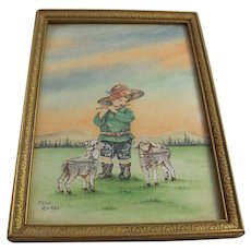 Vintage F.M.M Quebec Postage Stamp Decoupage Watercolour Child Lambs Folk Art Canadiana Mixed Media FMM