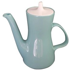 "Poole Pottery Twintone 9"" Coffee Tea Pot England Teapot Vintage Mid Century Modern"