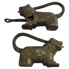 2 Figural Dog Lock Key Brass Bronze Vintage Chinese Cabinet Furniture Box