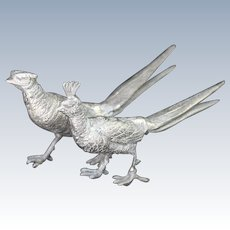 Silver Plate Chinese Golden Pheasant Birds Silverplate Table Decorations Centerpiece Dining Room Vintage Home Decor