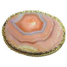 Antique Agate Brooch Scottish Banded C Clasp Gold Plated Vintage Victorian Jewellery Pin
