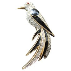 Vintage D'Orlan Figural Bird Costume Jewelry Brooch Black Enamel Rhinestone Bird of Paradise Jewellery