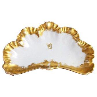 8 A.L. Limoges Bone Dishes Gilt Gold Encrusted China Lanternier France Antique Vintage Set