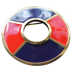 a1a60cb5f4b Vintage Authentic Yves St Laurent Modernist Brooch Enamel Designer Fashion  Jewellery Pin YSL France Jewelry