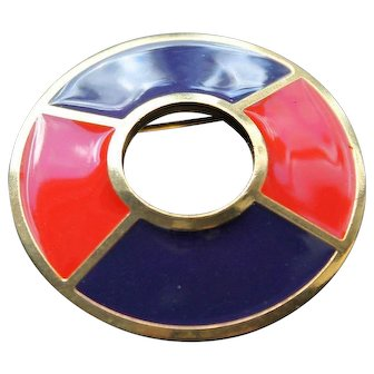 Vintage Authentic Yves St Laurent Modernist Brooch Enamel Designer Fashion Jewellery Pin YSL France Jewelry