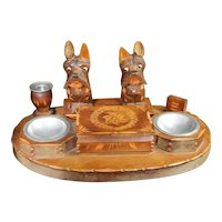 Smokers Set Carved Wood Scotty Dog Scottish Terrier Box Ashtray Smoking