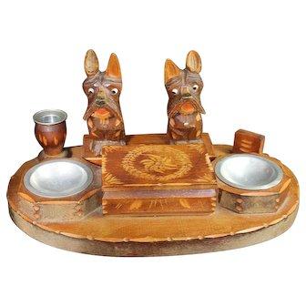Vintage Scotty Dog Smokers Set Carved Wood Scottish Terrier Box Ashtray