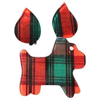 Vintage Scotty Dog Brooch Earrings Set Scottish Terrier Tartan Rhinestone Costume Jewelry Pin