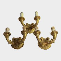 3 Wall Sconce Lights Gold Gilt Wood Gesso Lamps Candle Holder Architectural Salvage