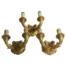 3 Wall Sconce Lights Gold Gilt Wood Gesso Lamps Italian Giltwood Vintage Hollywood Regency Fixture Candle Holder Architectural Salvage