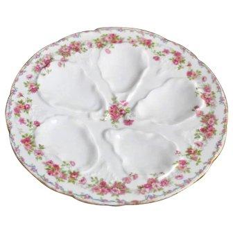 Antique Oyster Plate GDA Limoges France Porcelain China Floral Gilt Pink Gold