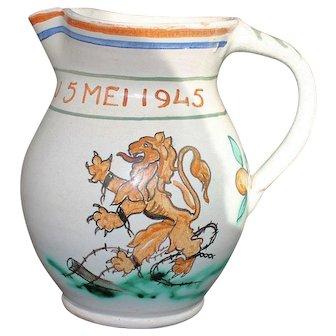 Goedewaagen Gouda Holland Art Pottery Jug WWII Liberation 1945 Military Commemorative Pitcher