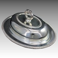 Vintage Oval Silverplate Covered Serving Entree Dish w Lid Sheffield Plate