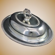 Oval Silverplate Covered Serving Entree Dish w Lid Vintage Sheffield Plate