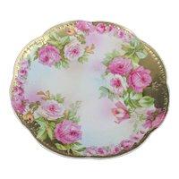 Royal Vienna Porcelain Cabinet Plate Roses Gold Gilt Serving Dish Art Nouveau