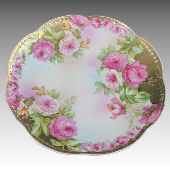 Vintage Royal Vienna Porcelain Cabinet Plate Roses Gold Gilt Serving Dish Art Nouveau