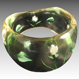 Lucite Jewelry Bangle Inset Flowers Clear Carved Vintage Mid Century Fashion Costume Wide Bracelet