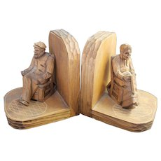Folk Art Wood Carved Bookends Vintage Quebec Carvings Old Man and Woman in Rocking Chairs