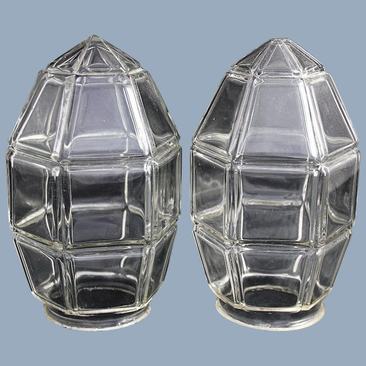 Art Deco Glass Lamp Shade Wall Sconce Ceiling Light Vintage Pair