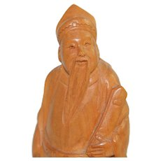 Vintage Chinese Boxwood Carving Scholar Wood Carved Figure Man on Wood Stand