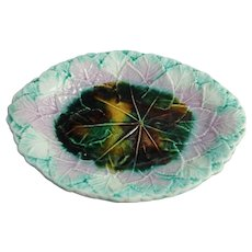 Antique Majolica Art Pottery Platter Begonia Leaf Victorian Aesthetic 19th Century Plate