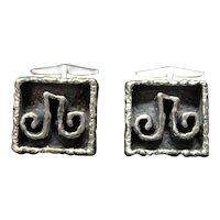 Guy Vidal Jewelry Cufflinks Brutalist Modernist Mid Century Designer Signed