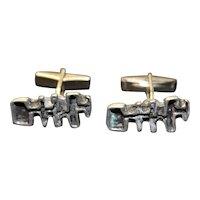 Cufflinks Brutalist Jewelry Mid Century Cuff Links Free Form Modernist Design