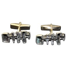 Cufflinks Brutalist Jewelry Mid Century Cuff Links Free Form Modernist Design