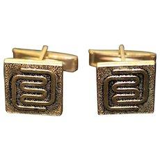 Vintage Cufflinks Brutalist Modernist Design Mens Fashion Cuff Links Gold