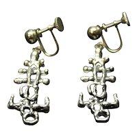 Designer Guy Vidal Brutalist Earrings Vintage Modernist  Mid Century Modern Jewelry