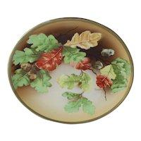 O&E.G. Royal Austria Porcelain Plate Serving Dish Hand Painted Oak Leaves Acorns Gold