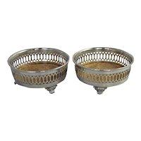 Silverplate Wine Coasters Slides Wm. Rogers & Co. Vintage Silver Plate Barware