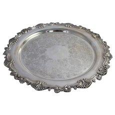 Round Silverplate Serving Tray Vintage Richelieu Plate Sheffield