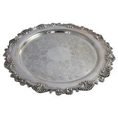 Round Silverplate Serving Tray Vintage Richelieu Plate Sheffield