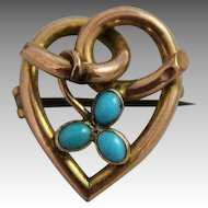9ct Gold Knotted Heart Jewelry Pin Antique Victorian Turquoise Brooch