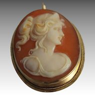 Antique Carved Shell Cameo Brooch Pin Pendant Victorian 9 CT Gold Jewelry